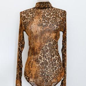 Animal Print, Jeweled, Sheer Bodysuit